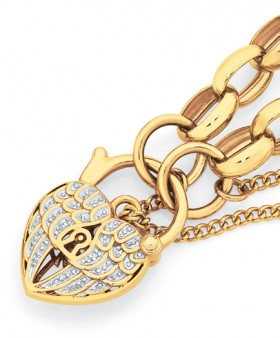 9ct-Gold-19cm-Solid-Oval-Belcher-Diamond-Angel-Wings-Padlock-Bracelet on sale