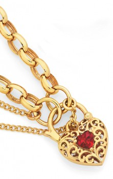 9ct-Gold-Created-Ruby-19cm-Solid-Oval-Belcher-Padlock-Bracelet on sale