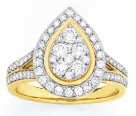 9ct-Gold-Diamond-Large-Pear-Cluster-Ring on sale