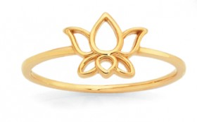 9ct-Gold-Lotus-Flower-Ring on sale