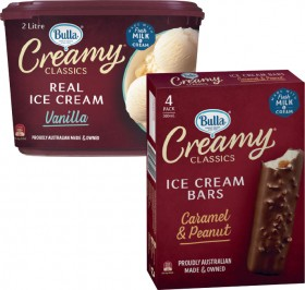 Bulla-Creamy-Classics-Ice-Cream-2-Litre-Sandwiches-or-Bars-4-Pack on sale