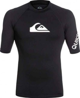 Quiksilver-Mens-All-Time-Short-Sleeve-Rash-Vest-Black on sale