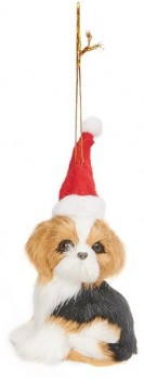 Harmony-Poly-Dog-in-Santa-Hat-Ornament-White-Brown on sale