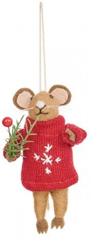 Harmony-Felt-Mouse-Ornament-Red on sale
