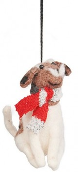Harmony-Felt-Dog-With-Scarf-Ornament-White-Brown on sale