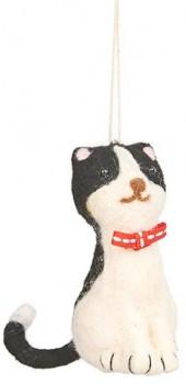 Harmony-Felt-Cat-with-Bow-Ornament-White-Black on sale