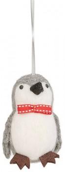 Harmony-Felt-Penguin-With-Bow-Ornament-Grey-White on sale