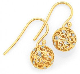 9ct-Gold-Two-Tone-Gold-Filigree-Ball-Drop-Earrings on sale