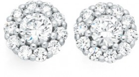 Sterling-Silver-Round-CZ-Cluster-Stud-Earrings on sale