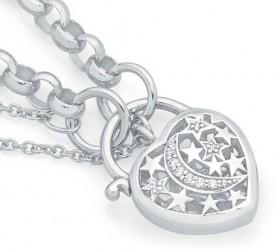Sterling-Silver-CZ-Padlock-Bracelet on sale
