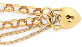 9ct-Gold-19cm-Solid-Belcher-Padlock-Bracelet on sale