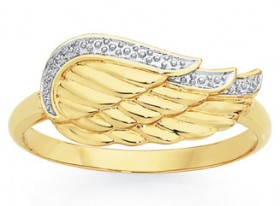 9ct-Gold-Two-Tone-Gold-Angel-Wing-Ring on sale
