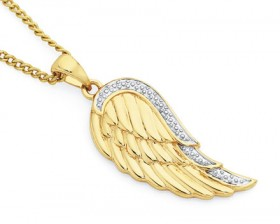 9ct-Gold-Two-Tone-Gold-Angel-Wing-Pendant on sale