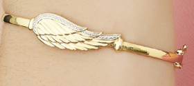 9ct-Gold-Angel-Wing-60mm-Oval-Hinged-Bangle on sale