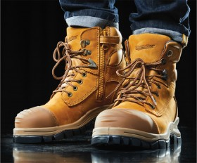 Blundstone-Wheat-Zip-Sided-Lace-Up-Safety-Boots-with-TPU-Toe-Guard on sale
