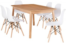 NEW-Retro-7-Piece-Dining-Set-with-Replica-Eames-Chairs on sale