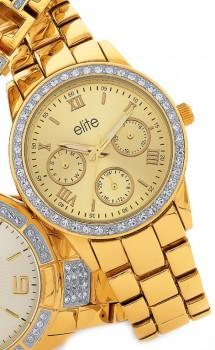 Elite-Ladies-Gold-Tone-Multidial-Watch on sale