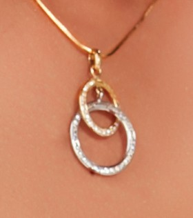 9ct-Gold-Cubic-Zirconia-Circles-of-Love-Pendant on sale