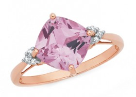 9ct-Rose-Gold-Created-Rose-Sapphire-Diamonds-Ring on sale