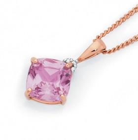 9ct-Rose-Gold-Created-Rose-Sapphire-Diamonds-Pendant on sale