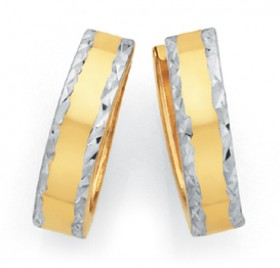 9ct-Gold-Two-Tone-Gold-Huggie-Earrings on sale