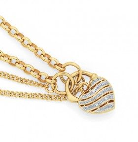 9ct-Gold-19cm-Solid-Belcher-Diamond-Padlock-Bracelet on sale