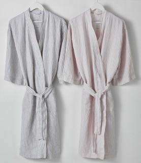 Hampton-Stripe-Linen-Bathrobe on sale