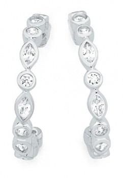 Sterling-Silver-Round-and-Marquise-Bezel-Set-CZ-Half-Hoop-Earrings on sale