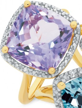 NEW-9ct-Gold-Pink-Amethyst-and-Diamond-Ring on sale