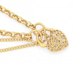 9ct-Gold-Two-Tone-Gold-19cm-Belcher-Diamond-Padlock-Bracelet on sale