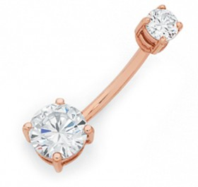9ct-Rose-Gold-Cubic-Zirconia-Belly-Bar on sale