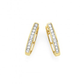 9ct-Gold-Diamond-Huggie-Hoop-Earrings on sale