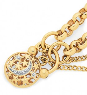 9ct-Gold-19cm-Solid-Belcher-Diamond-Padlock-Bracelet on sale
