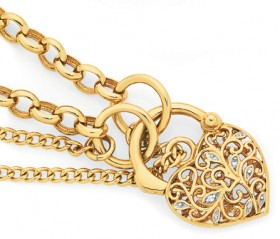 9ct-Gold-Two-Tone-19cm-Belcher-Diamond-Padlock-Bracelet on sale
