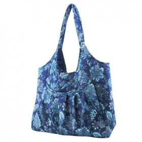 Maxi-Quilted-Knitting-Bag-Navy-Print on sale