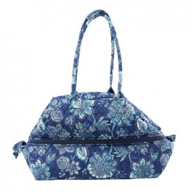 Carry-All-Quilted-Knitting-Bag-Navy-Print on sale