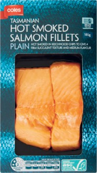 Coles-Hot-Smoked-Salmon-Fillets-185g on sale