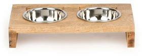 Harmony-Cat-Ear-Wooden-Double-Diner-Stainless-Steel-Cat-Bowl on sale