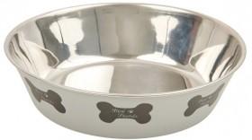 Harmony-Bone-Print-Stainless-Steel-Dog-Bowl-Grey on sale