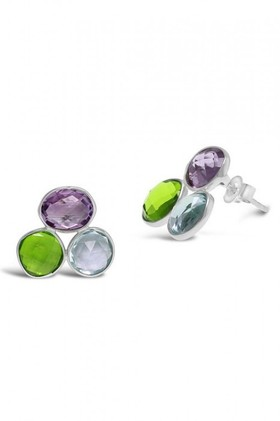 By-Fairfax-Roberts-Real-Gemstone-Trio-Earrings on sale