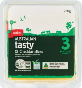 Coles-Tasty-Cheese-Slices-250g on sale