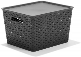 Woven-Medium-Storage-Containers-with-Lid-Grey on sale
