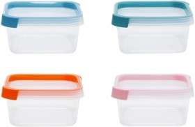 4-Pack-430ml-Square-Coloured-Lid-Containers on sale
