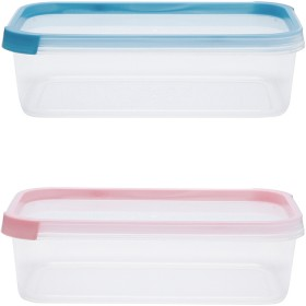 2-Pack-1.2-Litre-Rectangular-Coloured-Lid-Containers on sale