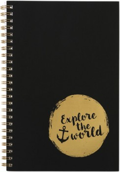 A5-Spiral-Notebook-120-Pages-BlackGold on sale