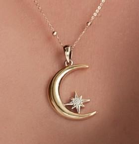 9ct-Gold-Crescent-Moon-Pendant on sale