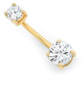 9ct-Gold-Cubic-Zirconia-Belly-Bar on sale