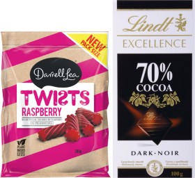 Lindt-Excellence-Creation-or-Lindor-Block-Chocolate-80g-100g-or-Darrell-Lea-Twists-or-Stix-220g-280g on sale
