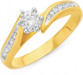 9ct-Gold-Diamond-Shoulder-Solitaire-Ring on sale