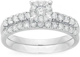 NEW-9ct-White-Gold-Diamond-Cluster-Bridal-Set on sale